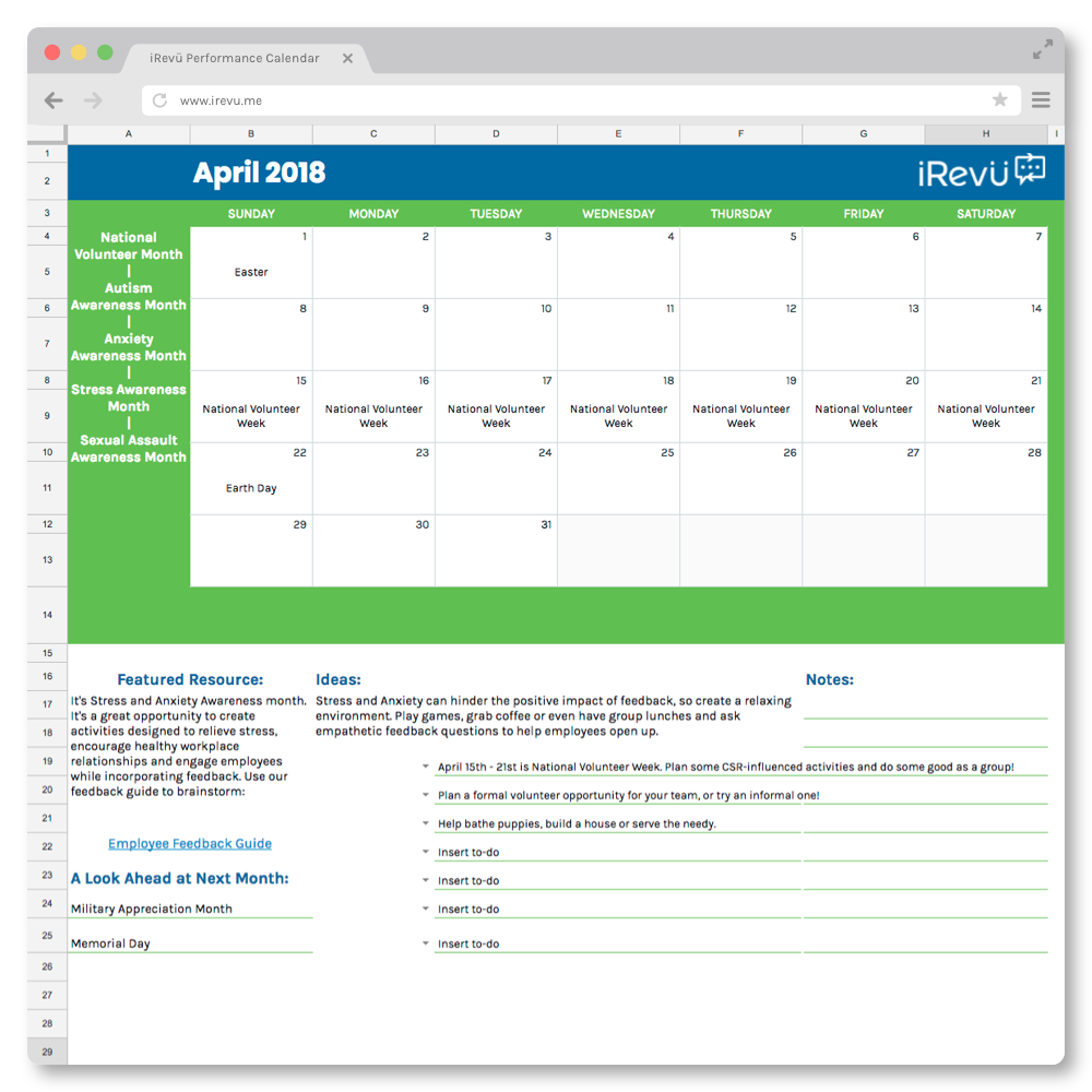 Performance Management Calendar